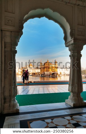 AMRITSAR, INDIA, DEC - 7, 2014: Golden Temple (Harmandir Sahib also Darbar Sahib). Golden Temple is the holiest Sikh gurdwara located in the city of Amritsar, Punjab, India.