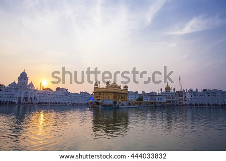 AMRITSAR, INDIA - NOVEMBER 28, 2013: Golden Temple, the main temple and holiest Gurdwara of Sikhism religion,  Sri Harmandir Sahib Gurdwara in  Punjab, India.
