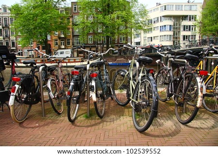Amsterdam and bicycles - stock photo