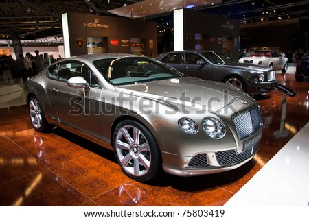 AMSTERDAM - APRIL 22 - Bentley Continental GT on display during the AutoRAI motorshow. April 22, 2011 in Amsterdam, The Netherlands. - stock photo