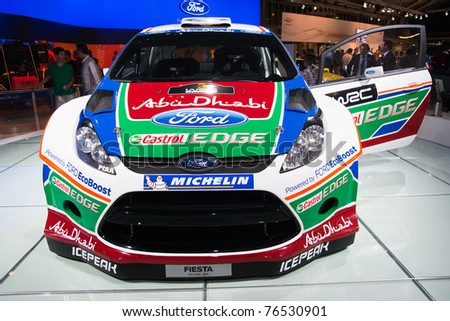 AMSTERDAM - APRIL 22: Ford Fiesta RS WRC car on display during the AutoRAI motorshow on April 22, 2011 in Amsterdam, The Netherlands.