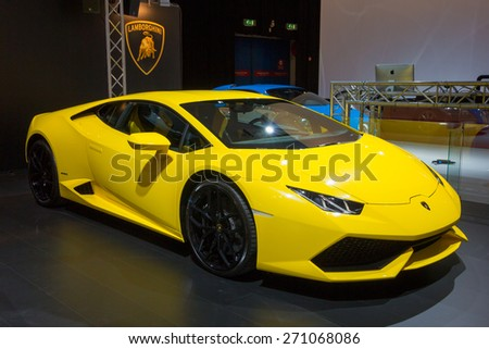 AMSTERDAM - APRIL 16, 2015: Lamborghini Huracan LP 610-4 car at the AutoRAI 2015. Introduced in 2014, the Huracan replaces Lamborghini's sales leader and most produced car, the Gallardo. - stock photo