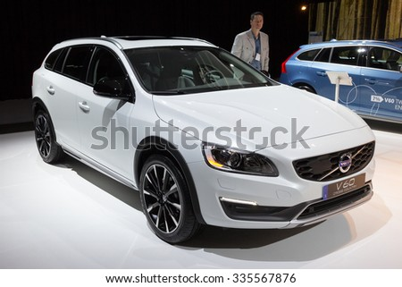 AMSTERDAM - APRIL 22 - Volvo V60 Cross Country car on display at the AutoRAI motorshow. April 22, 2011 in Amsterdam, The Netherlands.