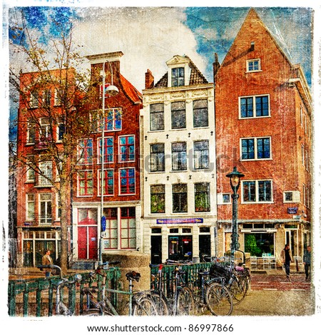 Amsterdam - artwork in painting style - stock photo
