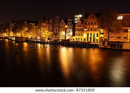 Amsterdam at night, The Netherlands - stock photo