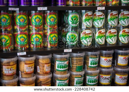 AMSTERDAM - AUGUST 26: Candy and cookies with marijuana for sale in the coffeeshop on August 26, 2014 in Amsterdam. - stock photo