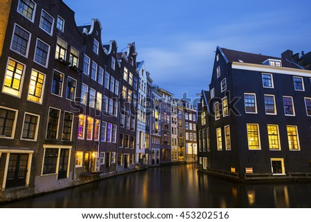 Amsterdam canal at night, Netherlands - stock photo