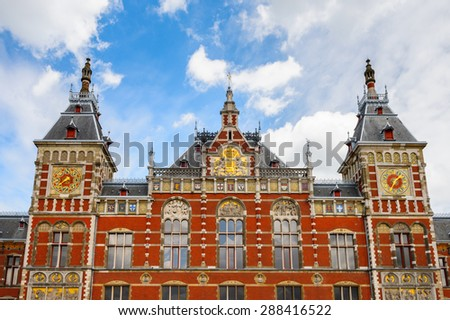 Amsterdam Centraal railway station, the largest railway station of Amsterdam, Netherlands - stock photo