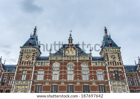 Amsterdam Centraal, the central railway station of Amsterdam, Netherlands.