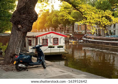 Amsterdam city view. The Netherlands - stock photo