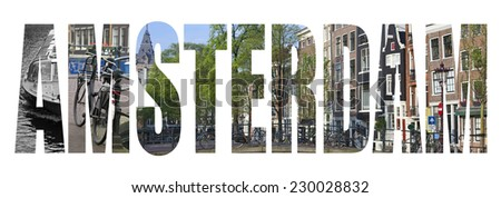 Amsterdam letter concept isolated on white - stock photo