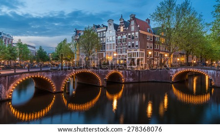 Amsterdam lights and canals in spring