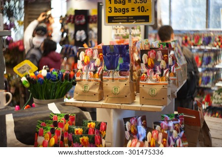 AMSTERDAM-MAY 13: Different kinds of tulip bulbs on the Amsterdam Flower Market on May 13,2015, the Netherlands. - stock photo