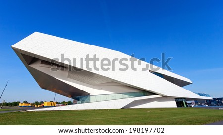AMSTERDAM - MAY 15: The EYE Film Institute building on May 15, 2014 in Amsterdam. In April of 2012, the Queen opened the film museum which became one of the main attractions of the Dutch capital.  - stock photo