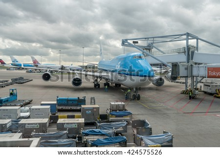 AMSTERDAM, NETHERLANDS - APRIL 06, 2016: Amsterdam Airport Schiphol with KLM Air France airplane Boeing 747-400