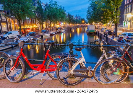Amsterdam, Netherlands - August 3, 2014: Canals of Amsterdam. Favorite place for walking and leisure travelers.
