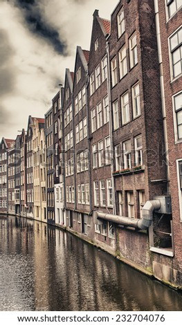 Amsterdam, Netherlands. Beautiful typical city architecture.