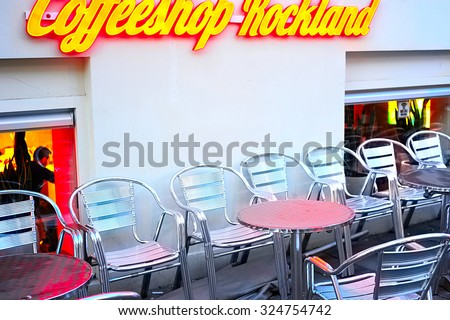 AMSTERDAM, NETHERLANDS - FEB 24, 2013: Coffeeshop in Amsterdam. Coffeeshops are establishments in the Netherlands where the sale of cannabis is tolerated by the local authorities