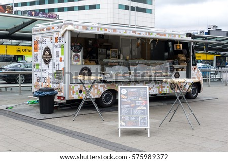 AMSTERDAM NETHERLANDS 10 FEB 2017 Food Truck Outside Of Amsterdam Airport Schiphol