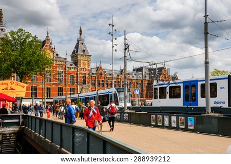 AMSTERDAM, NETHERLANDS - JUN 1, 2015: Port of Amsterdam. Amsterdam is the capital city and most populous city of the Kingdom of the Netherlands