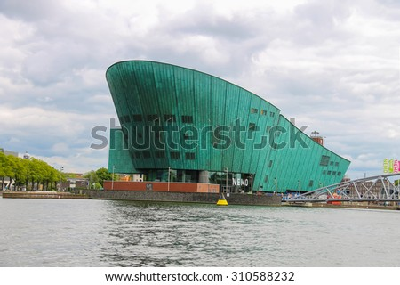 Amsterdam, Netherlands - June 20, 2015: The Nemo Museum,the largest science childrens museum and center of tourism in Amsterdam. - stock photo