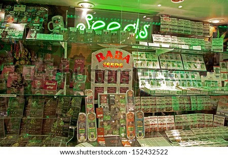 AMSTERDAM, NETHERLANDS - MARCH 26: One of many coffee shops in Amsterdam on March 26, 2013 in Amsterdam - stock photo