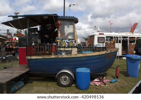 Amsterdam, Netherlands-May 14, 2016: food truck boat in Amsterdam