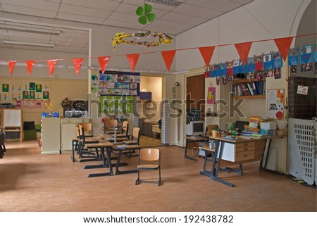 Amsterdam, Netherlands - May 28, 2008: Former classroom of Anne Frank, 6th Montessori, Niers street, Amsterdam.