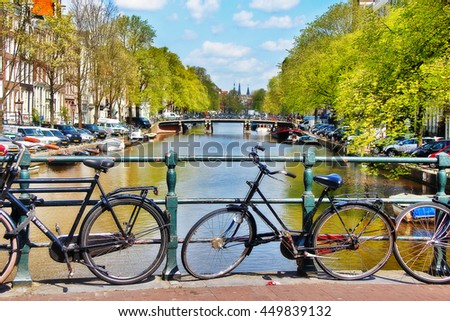 Amsterdam, Netherlands - May 04, 2016 - Scene of Amsterdam city, Canal and bikes parked on footpath - stock photo