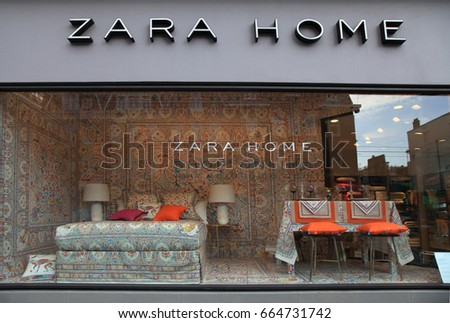 AMSTERDAM, NETHERLANDS - MAY 4, 2016: Shop window and logo of brand Zara Home, Amsterdam, Netherlands. Zara Home is company belongs to Inditex group. It has around 408 stores in 44 countries.