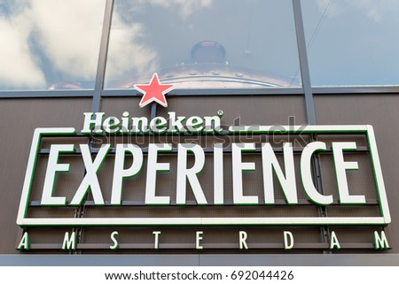 Amsterdam, Netherlands, May 3, 2016: The Heineken Experience Logo, located in Amsterdam, is a historic brewery and corporate visitor center for internationally distributed Dutch pilsner, Heineken beer