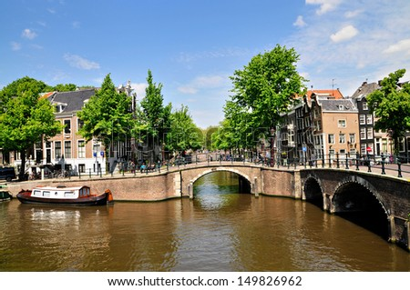 Amsterdam scene with canals Typical Amsterdam scene with canals, bridges and bicycles - stock photo