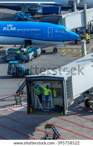 Amsterdam Schiphol Airport, North Holland/the Netherlands - March 10 2016: China Southern Airlines aircraft being towed