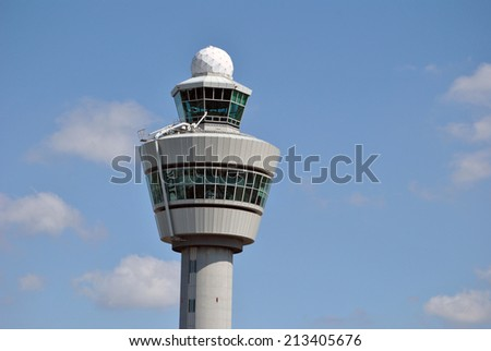 AMSTERDAM/SCHIPHOL, 27 AUGUST 2014 - Air traffic control tower at Amsterdam Airport Schiphol