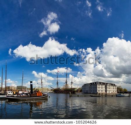 Amsterdam ships - stock photo