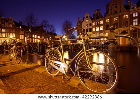 Amsterdam streetview in the Netherlands at twilight