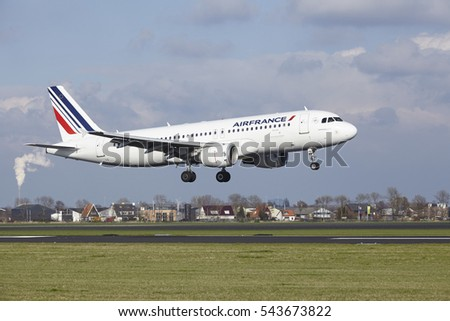 AMSTERDAM, THE NETHERLANDS - APRIL, 8. The Air France Airbus A320-214 with identification F-HEPB lands at Amsterdam Airport Schiphol (The Netherlands, AMS), Polderbaan on April 8, 2016.