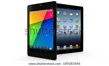 AMSTERDAM, THE NETHERLANDS - CIRCA 2014 - Google Nexus tablet and Apple ipad - stock photo