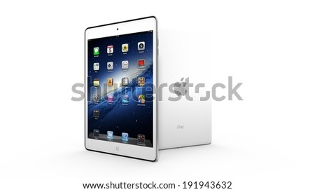 AMSTERDAM, THE NETHERLANDS, CIRCA 2014 - White Apple iPad mini tablet on display. - stock photo