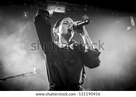 Amsterdam, The Netherlands - 06 December 2016: Concert of French singer-songwriter Jain at Bitterzoet Paradiso Amsterdam