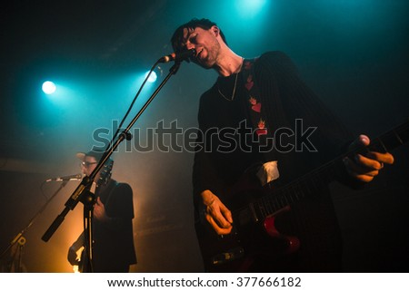 Amsterdam, The Netherlands - 11 february, 2016: concert of  Dutch indie rock trio Bombay for their Album Release Show at venue OT301 - stock photo