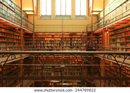 Amsterdam, the Netherlands January 8, 2015: Large old Dutch library in the Rijksmuseum in Amsterdam