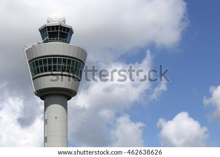 AMSTERDAM, THE NETHERLANDS - July 3, 2016: air traffic control tower of Amsterdam Airport Schiphol. With a height of 101 m (331 ft), was the tallest in the world when constructed in 1991.