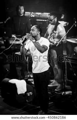 Amsterdam, The Netherlands - July, 1 2016: support act with Christopher Martin before the concert of reggae singers Gentleman and Ky-Mani Marley at Melkweg during world music festival Roots Amsterdam