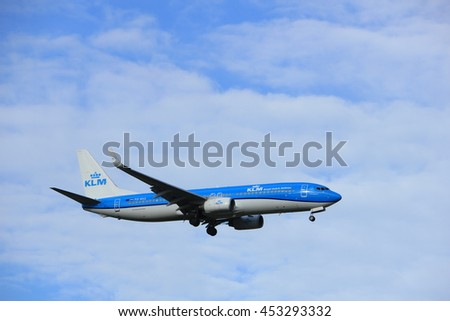 Amsterdam, the Netherlands - July 15th 2016: PH-BXZ KLM Royal Dutch Airlines Boeing 737 approaching Polderbaan runway at Schiphol Amsterdam Airport, arriving from London, United Kingdom