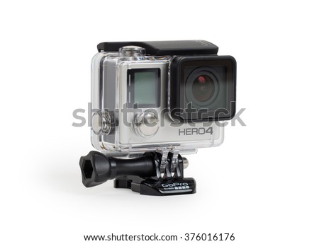 Amsterdam, the Netherlands - June 30, 2015: GoPro Hero 4 Black Edition isolated on white background, GoPro is a brand of high-definition personal cameras, used in extreme action video photography. - stock photo