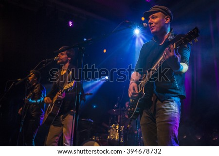 Amsterdam, The Netherlands, 18 March, 2016: concert of Swiss folk rock band 77 Bombay Street at venue Paradiso