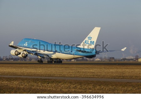 AMSTERDAM, THE NETHERLANDS - MARCH, 13. The KLM Boeing 747-406(M) with identification PH-BFK takes off at Amsterdam Airport Schiphol (The Netherlands, AMS), Polderbaan on March 13, 2016.