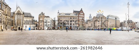 AMSTERDAM, THE NETHERLANDS - MARCH 5: View of the Dam square, March 5, 2015 in Amsterdam, The Netherlands. The place is the historical center of the city and includes the Royal Palace. - stock photo