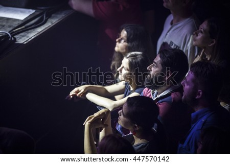 Amsterdam, The Netherlands, 27 May, 2016: audience at the concert of Scottish folk rock band Travis at venue Melkweg - stock photo